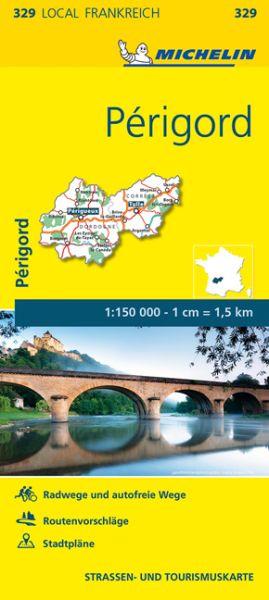 Michelin local 329 Perigord Straßenkarte 1:150.000