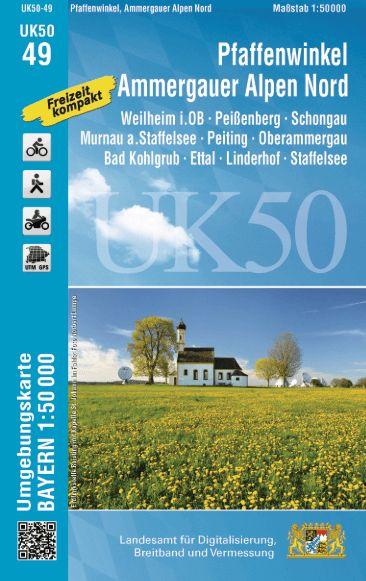 UK50-49 Pfaffenwinkel - Ammergauer Alpen Nord Rad- und Wanderkarte 1:50.000 - Umgebungskarte Bayern