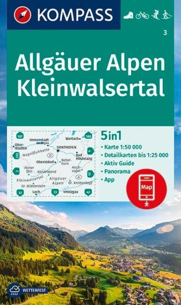 Kompass Karte 3, Allgäuer Alpen, Kleinwalsertal 1:50.000, Wandern, Rad fahren