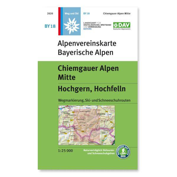 Alpenvereinskarte BY18 Chiemgauer Alpen Mitte Wanderkarte 1:25.000