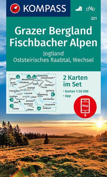 Kompass Karte 221, Grazer Bergland 1:50.000, Wandern, Rad fahren