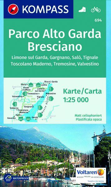 Kompass Karte 694, Bresciano, Parco Alto Garda 1:25.000, Wandern, Rad fahren