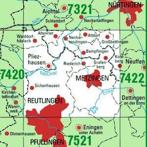 7421 METZINGEN topographische Karte 1:25.000 Baden-Württemberg, TK25