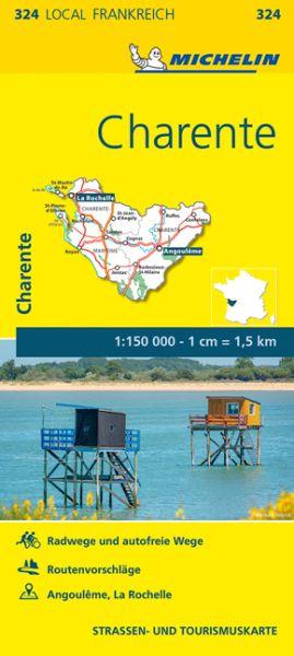 Michelin local 324 Charente Straßenkarte 1:150.000