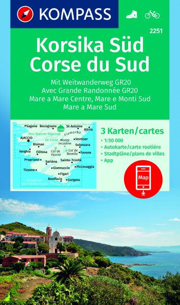 Kompass Karte 2251, Korsika Süd 1:50.000, Wandern, Rad fahren