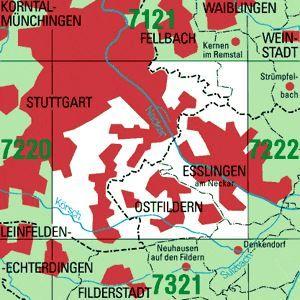 7221 STUTTGART-SÜDOST topographische Karte 1:25.000 Baden-Württemberg, TK25