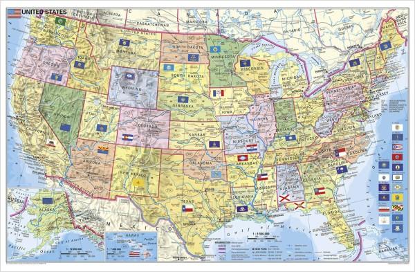 USA Bundesstaaten mit Postleitzahlen Poster vom Stiefel Verlag 95x62 cm