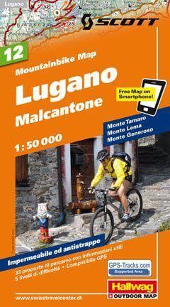 Hallwag Mountainbike Map Bl.12, Lugano, Malcantone, 1:50.000, Wasser- und reißfest