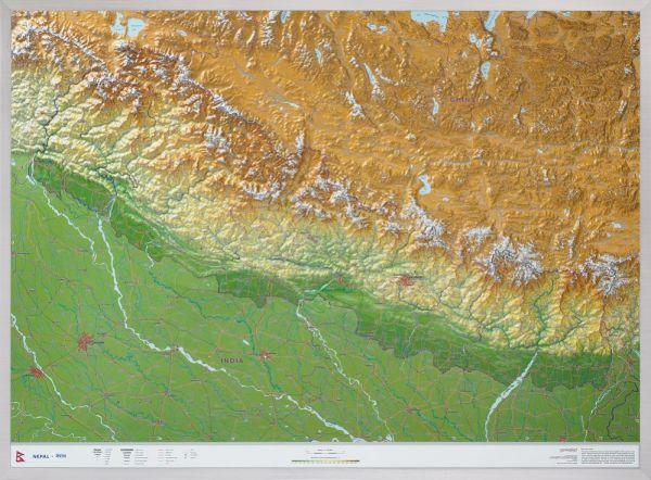 Nepal Relief, groß, ohne Rahmen – 77 cm x 57 cm