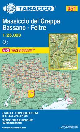 Tabacco 051 Monte Grappa - Bassano - Feltre Wanderkarte 1:25.000
