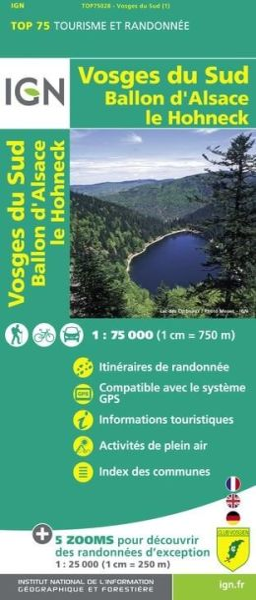 Vosges du Sud 1:75.000 Rad- und Wanderkarte, IGN Top75028