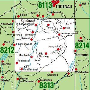 8213 ZELL IM WIESENTAL topographische Karte 1:25.000 Baden-Württemberg, TK25