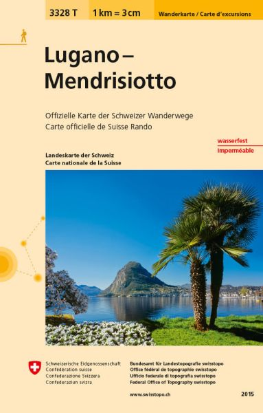 3328 T Lugano - Mendrisiotto Wanderkarte 1:33.333 wetterfest - Swisstopo