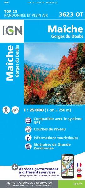 IGN 3623 OT Maiche, Gorges du Doubs; Frankreich Wanderkarte 1:25.000