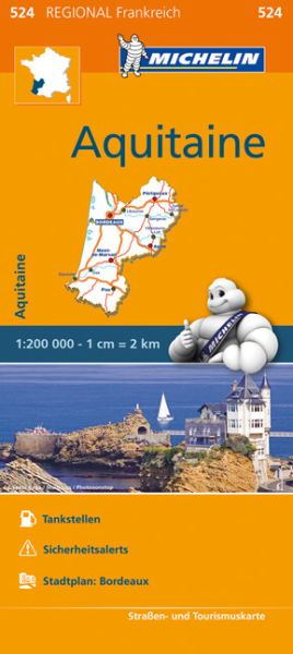 Michelin regional 524 Aquitaine Straßenkarte 1:200.000