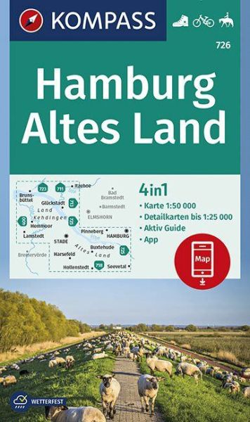 Kompass Karte 726, Hamburg, Altes Land 1:50.000, Wandern, Rad fahren