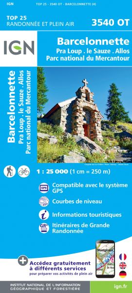 IGN 3540 OT Barcelonette, Pra-Loup Frankreich Wanderkarte 1:25.000