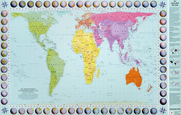 Peters Orthogonale Weltkarte, Posterkarte 130 cm x 82 cm, Huber Kartographie