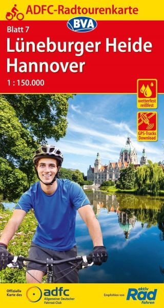 ADFC Radtourenkarte 7, Lüneburger Heide - Hannover Radwanderkarte 1:150.000