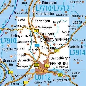 L7912 Freiburg / N topographische Karte 1:50.000 Baden-Württemberg, TK50