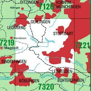 7220 STUTTGART-SÜDWEST topographische Karte 1:25.000 Baden-Württemberg, TK25