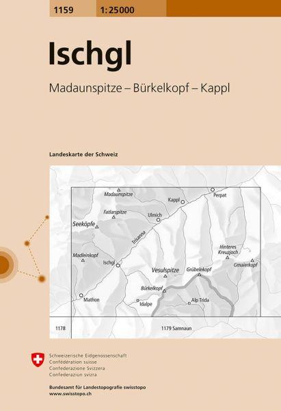 1159 Ischgl topographische Wanderkarte Schweiz 1:25.000