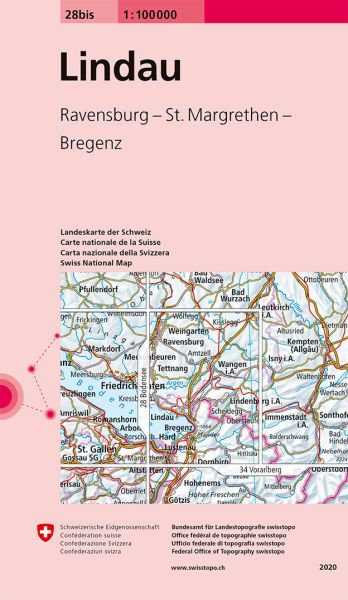 28 bis Lindau topographische Karte Schweiz 1:100.000