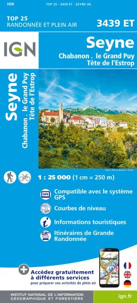 IGN 3439 ET Seyne, Chabanon, Grand Puy, Frankreich Wanderkarte 1:25.000