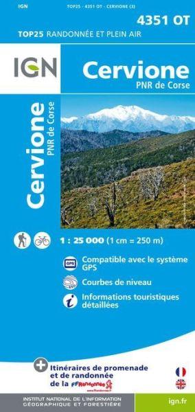 IGN 4351 OT Cervione, Korsika Wanderkarte 1:25.000