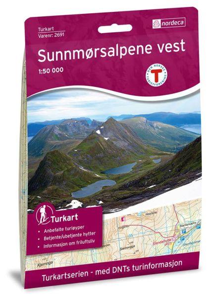 Sunnmørsalpene Vest Wanderkarte 1:50.000 – Norwegen, Turkart 2691 von Nordeca