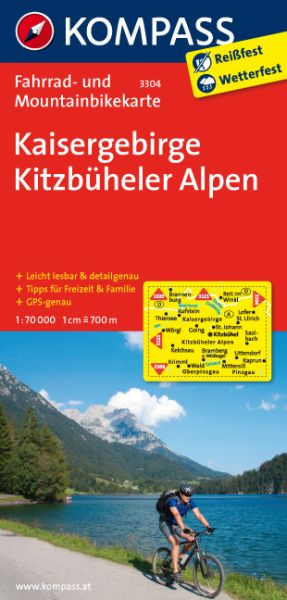 Kaisergebirge, Kitzbüheler Alpen Fahrradkarte 1:70.000; Kompass 3304