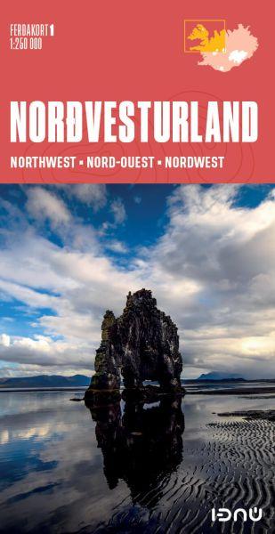 Ferdakort 1: Island Nordwest, Nordvesturland, topographische Straßenkarte 1:250.000