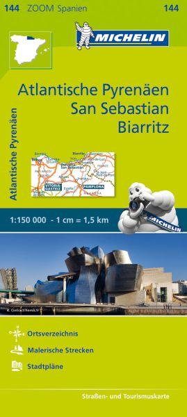 Michelin zoom 144 Atlantische Pyrenäen, San Sebastian, Biarritz Straßenkarte 1:150.000