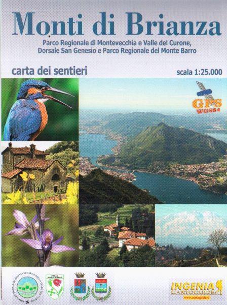Wanderkarte für die Monti Brianza in der Lombardei im Maßstab 1:25.000