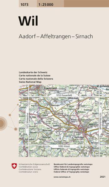 1073 Wil topographische Wanderkarte Schweiz 1:25.000