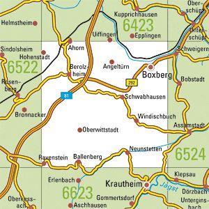 6523 BOXBERG topographische Karte 1:25.000 Baden-Württemberg, TK25