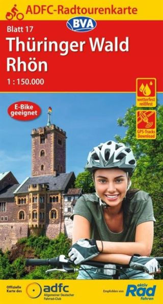 ADFC Radtourenkarte 17, Thüringer Wald - Rhön Radwanderkarte 1:150.000