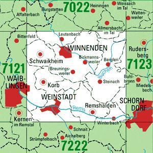 7122 WINNENDEN topographische Karte 1:25.000 Baden-Württemberg, TK25