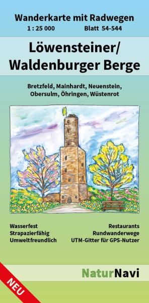 Löwensteiner & Waldenburger Berge 1:25.000 Wanderkarte mit Radwegen – NaturNavi Bl. 54-544