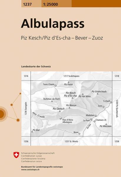 1237 Albulapass topographische Wanderkarte Schweiz 1:25.000