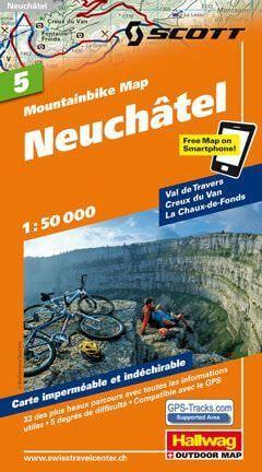 Hallwag Mountainbike Map Bl.5, Neuchâtel, 1:50.000, Wasser- und reißfest
