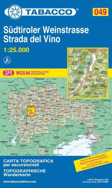 Tabacco 049 Südtiroler Weinstrasse / Strada del Vino Wanderkarte 1:25.000