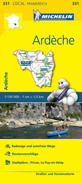 Michelin local 331 Ardeche Straßenkarte 1:150.000