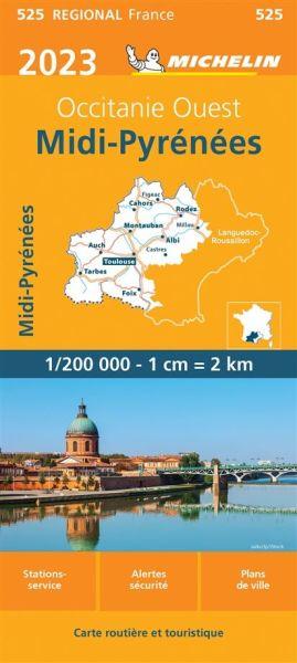 Michelin regional 525 Midi-Pyrénées Straßenkarte 2020 1:200.000