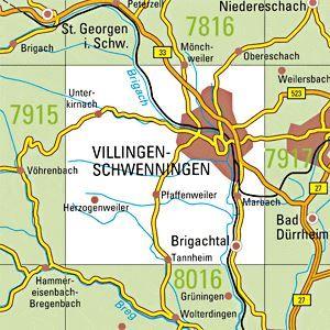 7916 VILLINGEN-SCHWENNINGEN WEST topographische Karte 1:25.000 Baden-Württemberg, TK25