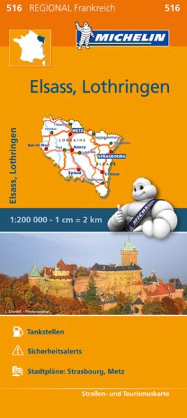 Michelin regional 516 Elsass - Lothringen Straßenkarte 1:200.000