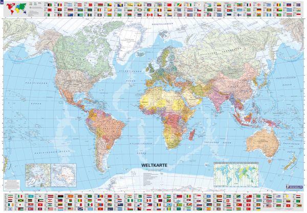 Michelin Poster Weltkarte politisch mit Stäben 100x144cm