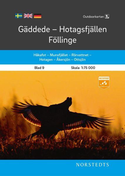 Gäddede - Hotagsfjällen - Föllinge, Outdoorkartan Blatt 9, Schweden Wanderkarte 1:75.000