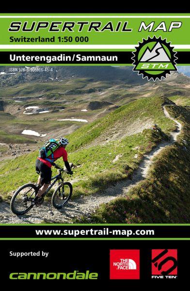 Supertrail Map Unterengadin Samnaun Mountainbikekarte, 1:50.000, wetterfest