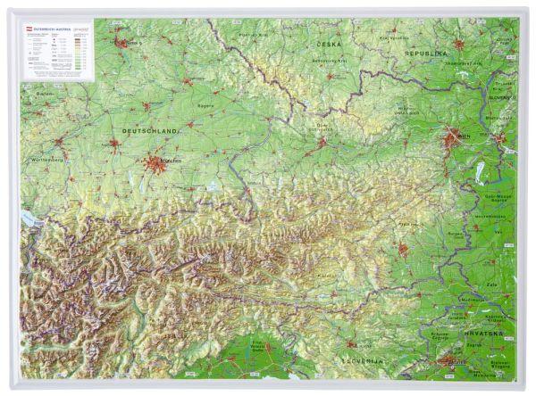 Österreich Relief klein ohne Rahmen – 39 cm x 29 cm